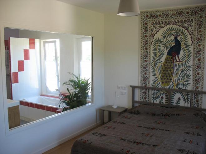 Chambre et salle de bain niveau terrasse